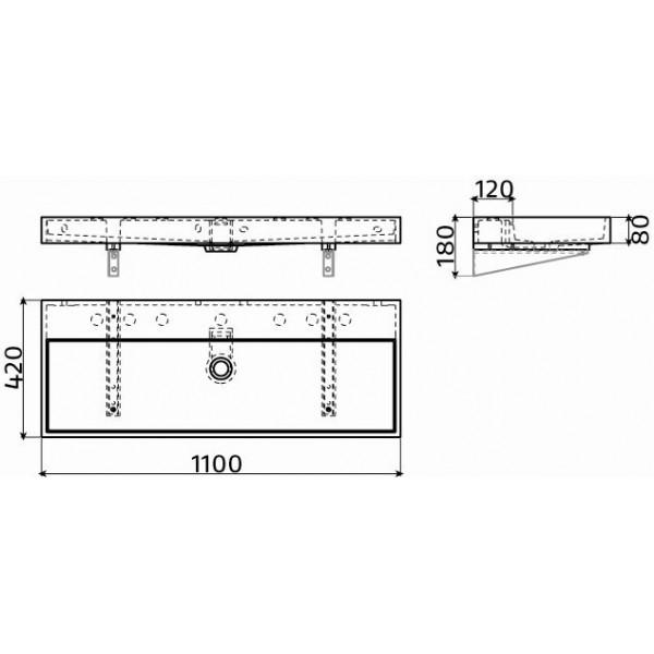 Раковина подвесная 110 см (CL/02.01038)