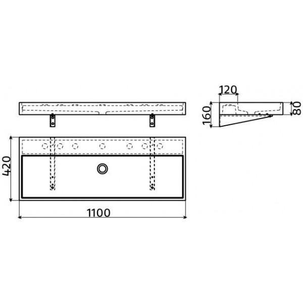 Раковина из бетона 110 см (CL/02.11038)