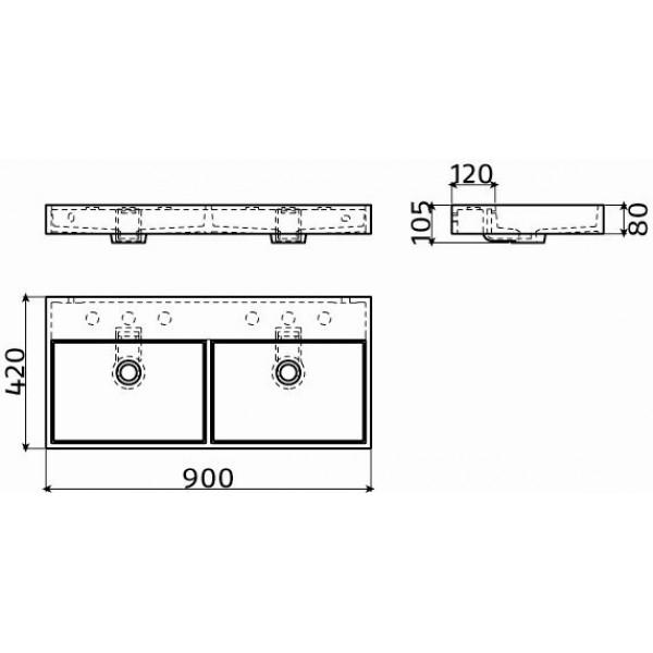 Раковина двойная 90 см (CL/02.13035)