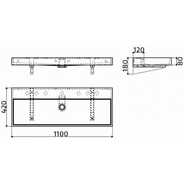 Прямоугольная раковина подвесная 110 см (CL/02.13038)