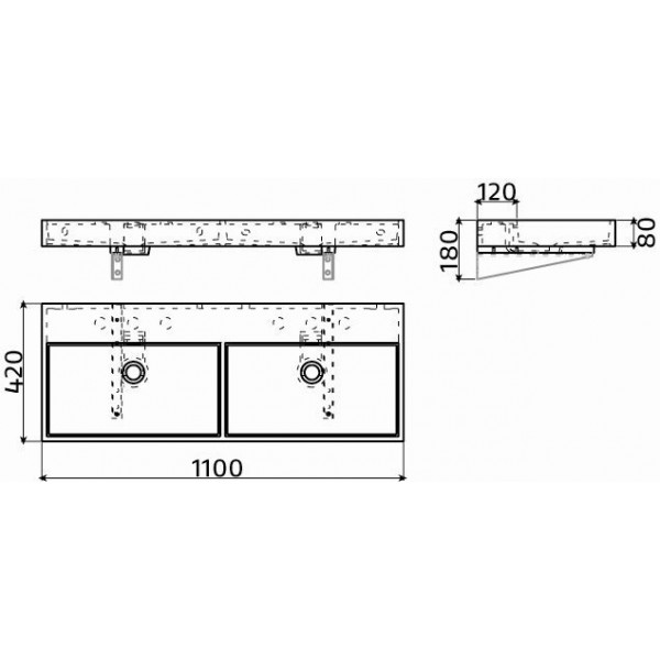 Сдвоенная раковина 110 см (CL/02.13039)