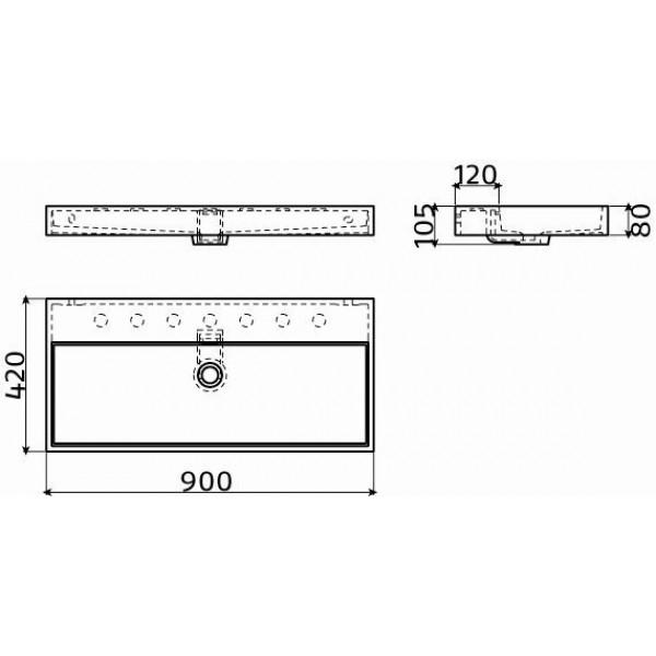 Раковина прямоугольная 90 см (CL/02.26034)