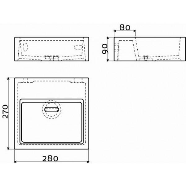 Квадратная раковина для ванной комнаты 28 см (CL/03.03011)