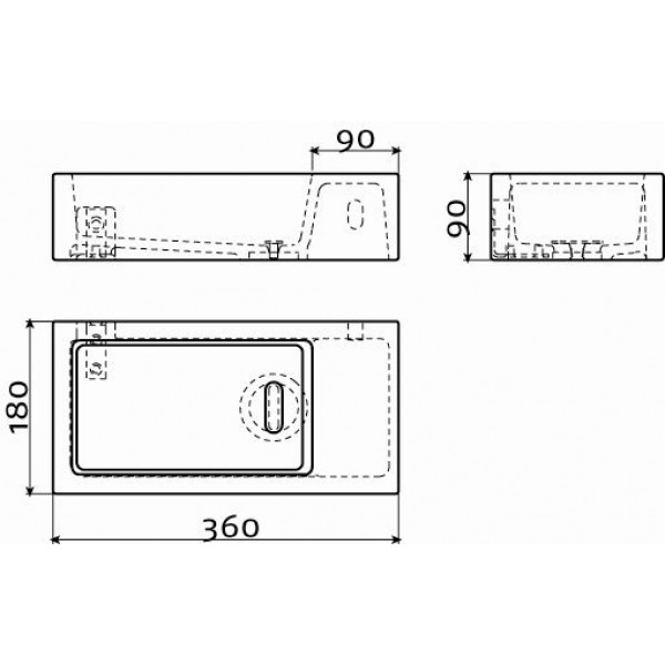 Маленькая раковина для туалета 36*18 см  (CL/03.03031)