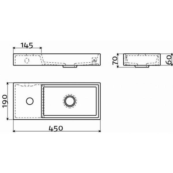 Мини раковина для туалета  45 см левосторонний (CL/03.03134)