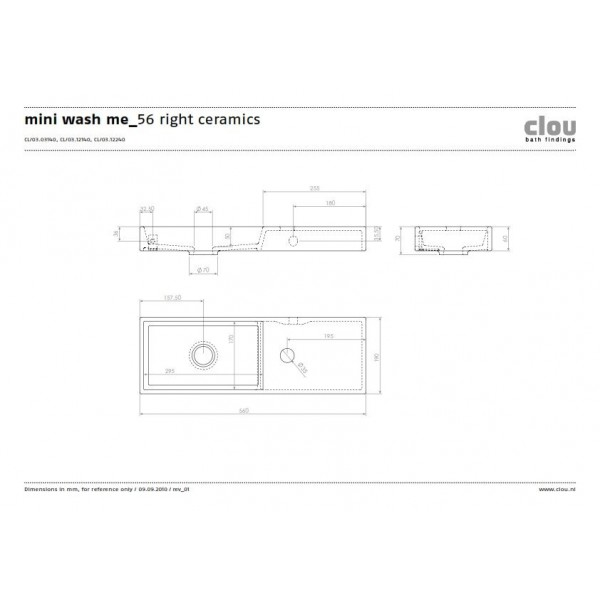 Рукомойник 56 см  правосторонний  (CL/03.03140)