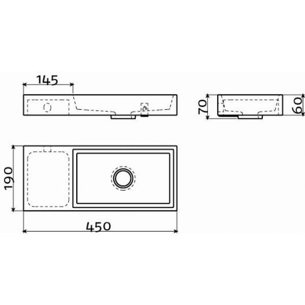 Рукомойник 45 см. левосторонний. (CL/03.07135)