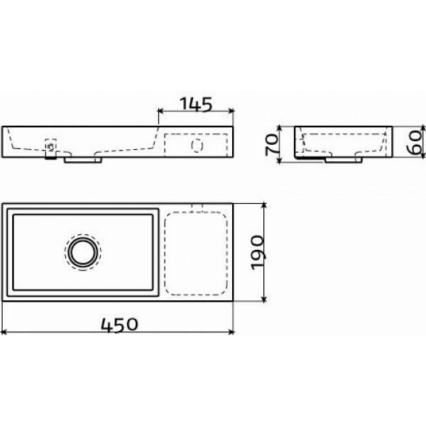 Рукомойник 45 см правосторонний (CL/03.07137)