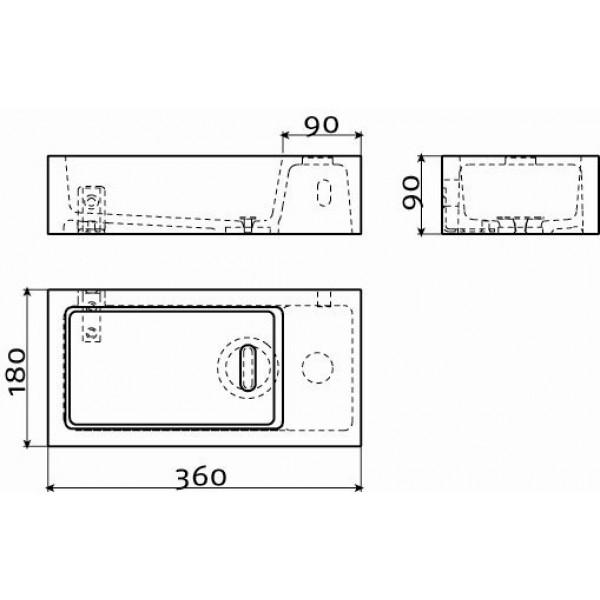 Раковина в ванную  36*18 см правая (CL/03.08031)