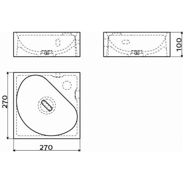 Угловая раковина для ванной комнаты  27*27 см  (CL/03.08051)
