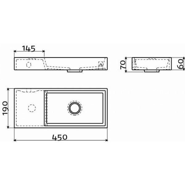 Мини раковина в туалет 45 см левосторонняя (CL/03.08134)