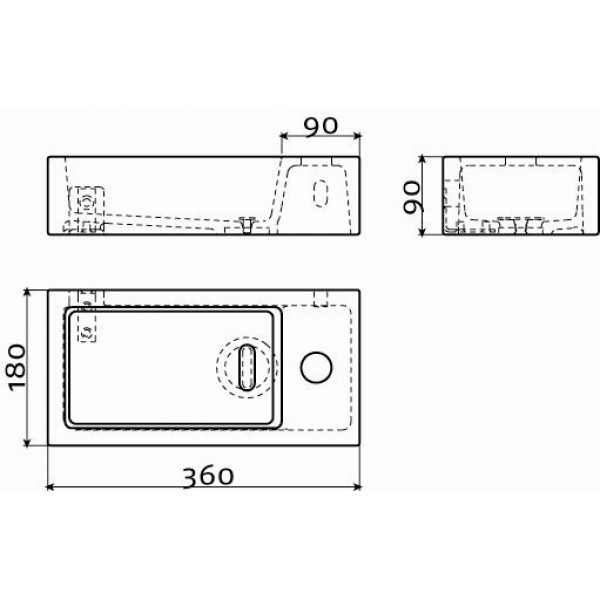 Рукомойник черный матовый  36*18 см правый  (CL/03.12030)