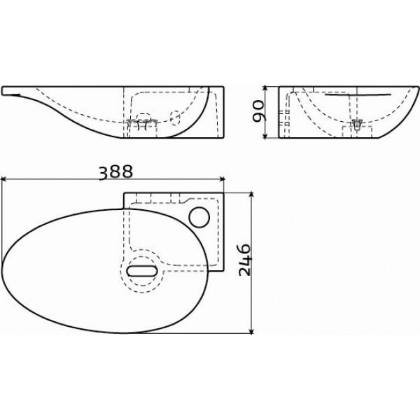 Рукомойник черный 39 см угловой правый (CL/03.12100)