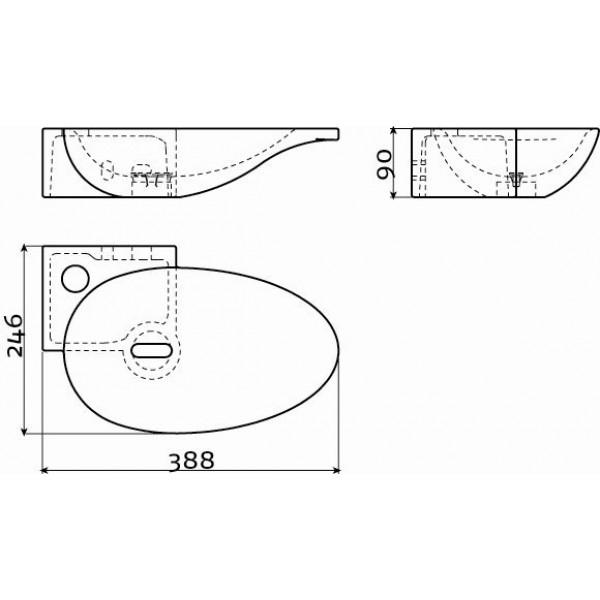 Угловой рукомойник черный 39 см левый (CL/03.12103)