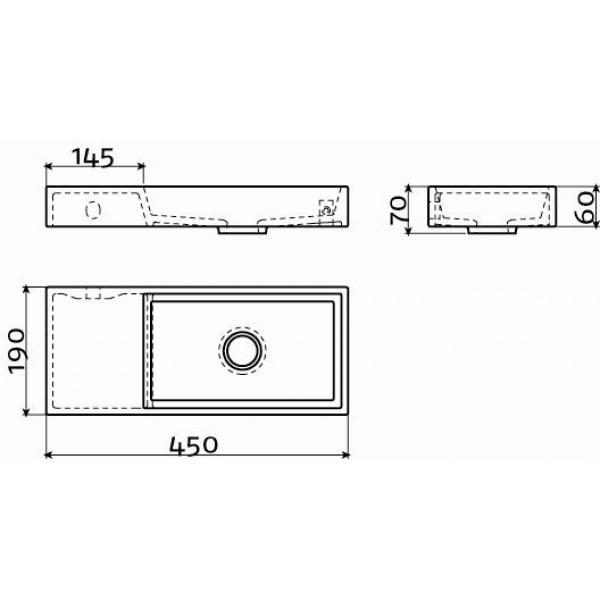 Рукомойник 45 см левосторонний (CL/03.12235)