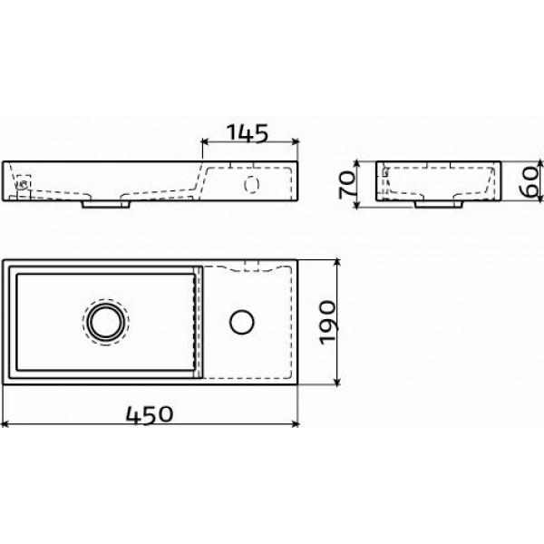 Рукомойник черный 45 см правосторонний. (CL/03.12236)
