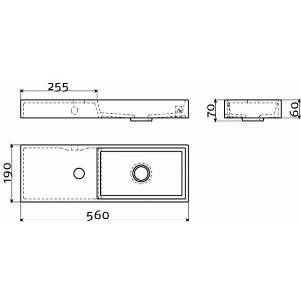 Раковина черная в ванную комнату левосторонний (CL/03.12238)