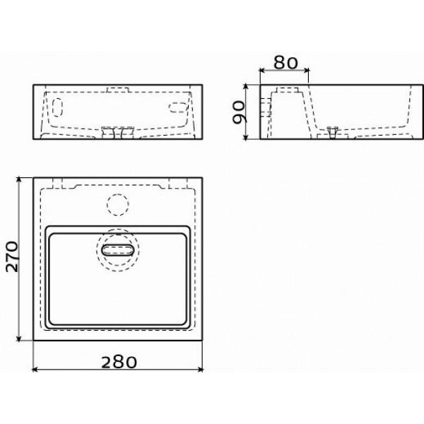 Маленькая раковина для туалета  28 см (CL/03.13011)