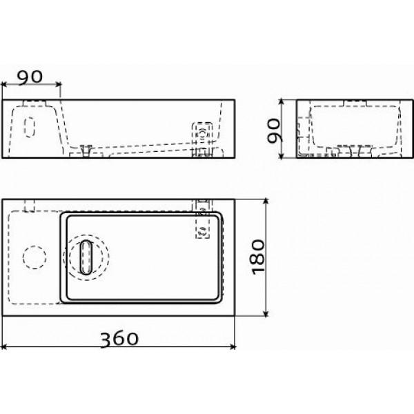 Рукомойник 36*18 см левый (CL/03.13032)