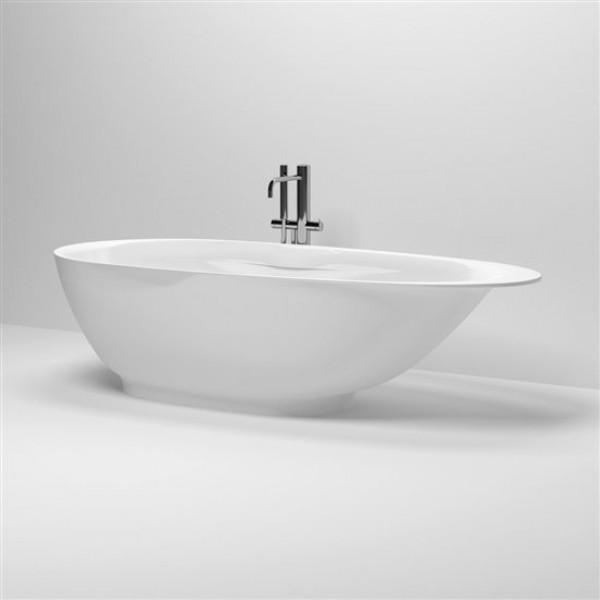 Дизайнерская овальная ванна отдельностоящая из минерального мрамора со сливной гарнитурой 182 см (CL/05.08010)