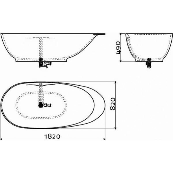 Дизайнерская ванна овальная отдельно стоящая 182 см (CL/05.13010)