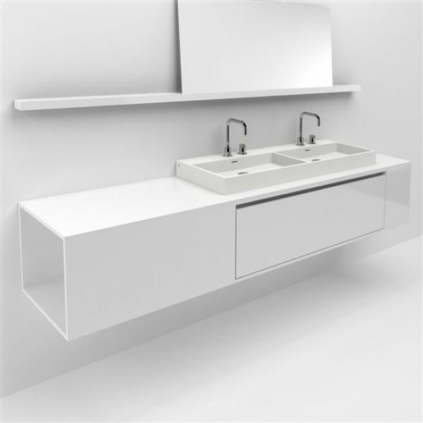 Тумба для ванной 210 см с внутренним ящиком для раковин 110 см, белый лак, полировка (CL/07.46.537.50)