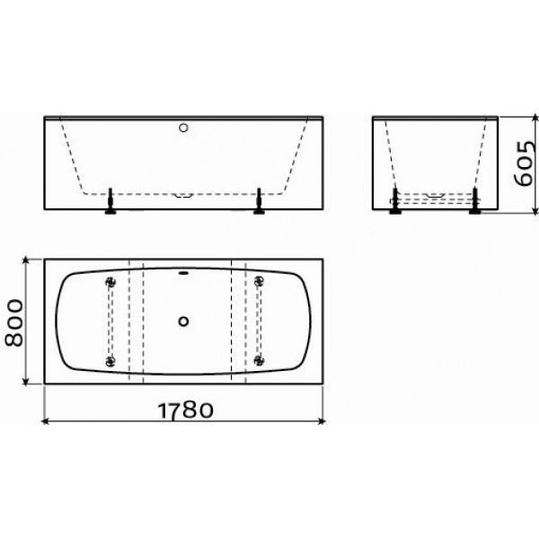 Черно-белая ванна отдельно стоящая с переливом, со сливной гарнитурой 178 см (IB/05.40205)