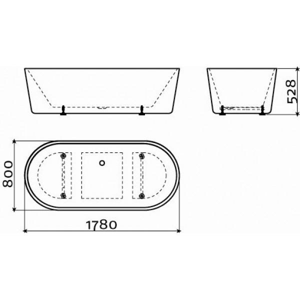 Ванна овальная отдельно стоящая 178 см со сливной гарнитурой (IB/05.40300)
