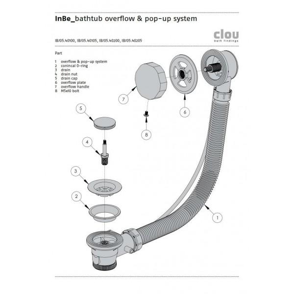 Овальная ванна из акрила с системой слив-перелив  Clou (IB/05.40302)