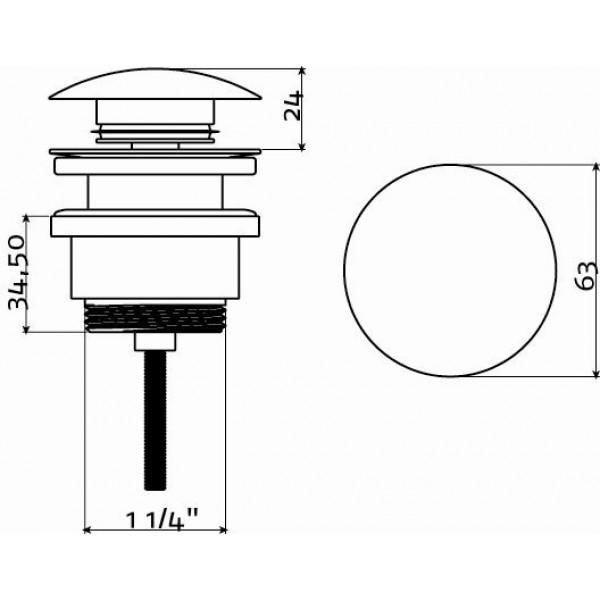 Слив для раковины с системой stop/go  (IB/06.51005)