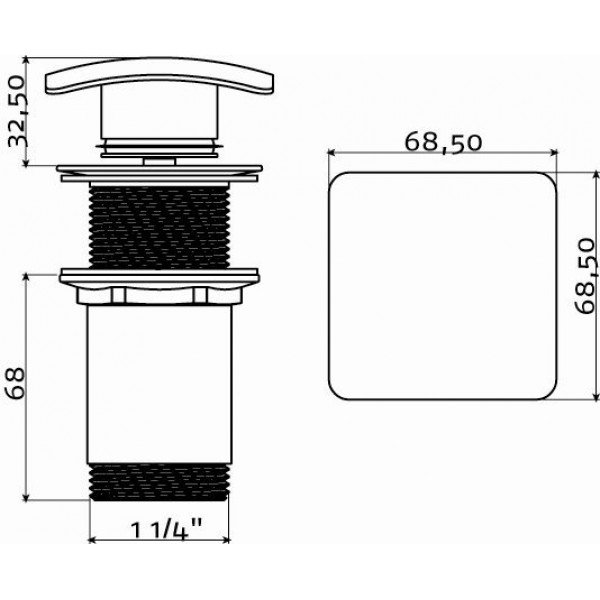 Слив для раковины с системой stop/go (IB/06.51007)