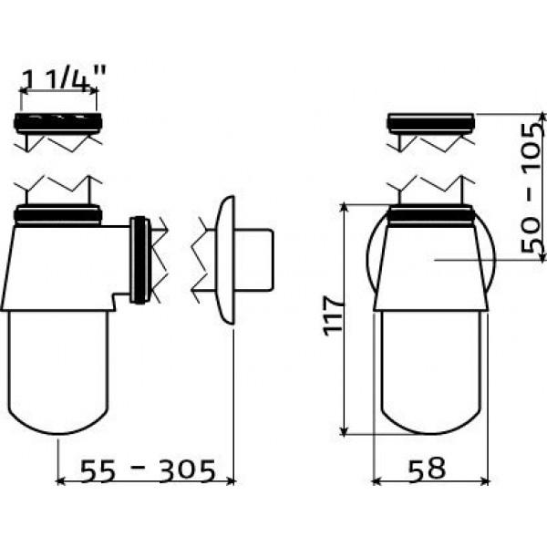 Сифон для рукомойников серии Flush 6 (IB/06.53090)
