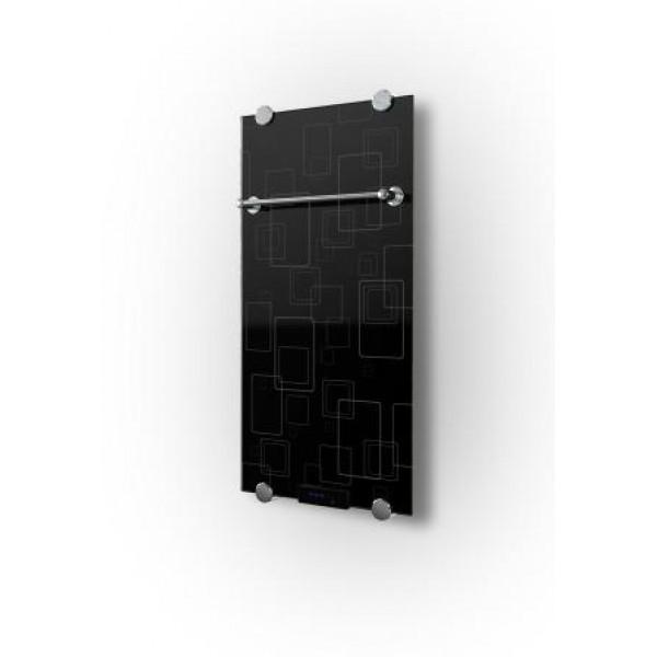 Дизайн радиатор электрический стеклянный 730 ватт Nero+ с полотенцесушителем